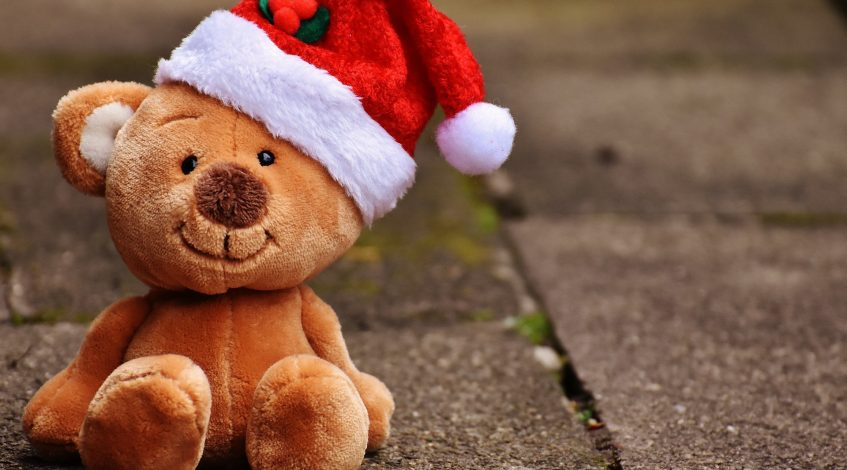 Teddy in a santa hat