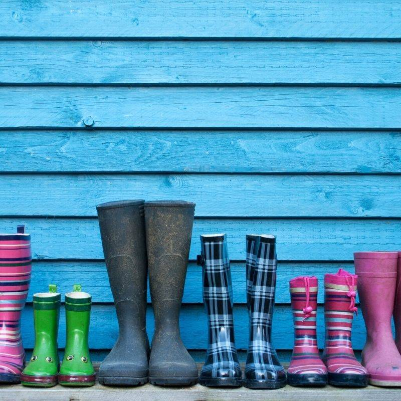 6 sets of colourful wellies in a row depicting family