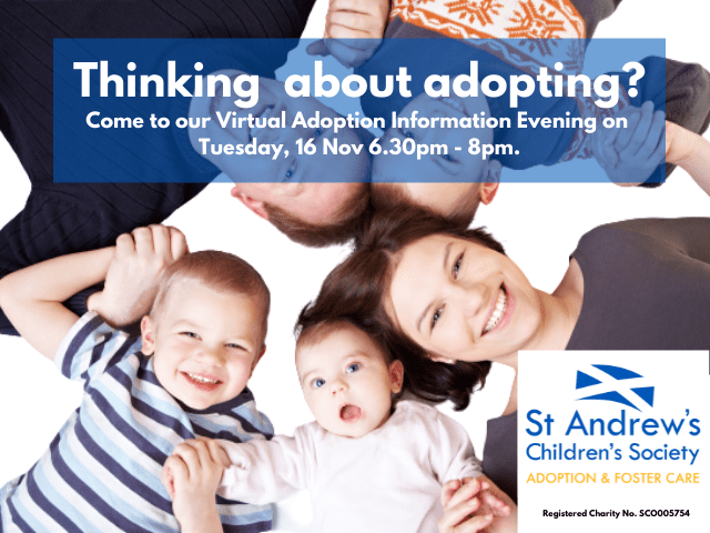 virtual adoption information evening advert with a family of 5 lying on their backs holding hands while holding hands and smiling